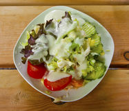 Fresh salad with dressing Royalty Free Stock Image