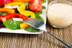 Fresh Salad and Dressing with Fork Royalty Free Stock Photography