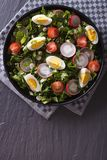 Fresh salad with egg, radishes and herbs vertical top view Royalty Free Stock Images