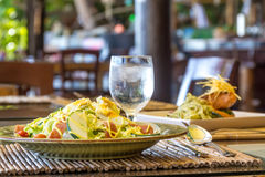 Fresh salad with eggs and vegetables in a small outdoor r Royalty Free Stock Images