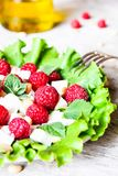 Fresh salad with feta cheese, raspberry, pine nuts and olive oil in a plate, selective focus. Healthy food stock photo