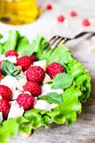 Fresh salad with feta cheese, raspberry, pine nuts and olive oil in a plate, selective focus stock image