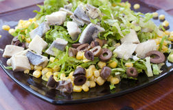 Fresh salad with fish Stock Photo