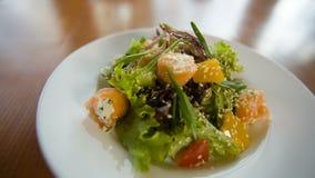 Fresh salad with fish. Fresh green salad with fish stock footage