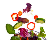 Fresh Salad Flying Stock Images
