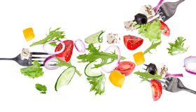 Fresh salad with flying vegetables ingredients Royalty Free Stock Images