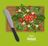 Fresh salad food leaves vegetables table wooden knife. Vector illustration vector illustration