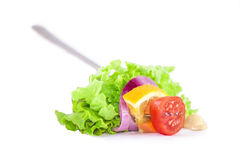 Fresh Salad Food Styling. Tomato, carrot onion slice and lettuce in a fork with mustard Royalty Free Stock Photo
