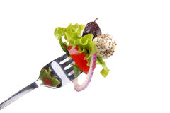 Fresh salad on a fork Stock Images