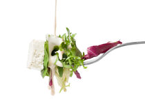 Fresh salad on fork and dressing Royalty Free Stock Image