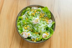Fresh salad. With shrimps and corn kernels Royalty Free Stock Photo