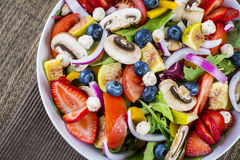Fresh salad with fruit and mushrooms Stock Photography