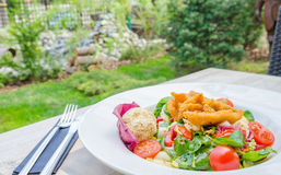 Fresh salad at a garden restaurant Stock Image