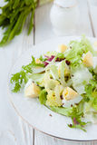 Fresh salad greens with eggs Royalty Free Stock Images