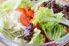 Fresh salad greens. Fresh salad of tomato, lettuce, parsley, greens. Healthy Eating Royalty Free Stock Photos