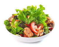 Fresh salad with grilled salmon fillet royalty free stock photo