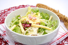 Fresh salad with ham and cheese Stock Photos