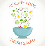 Fresh salad, healthy meal. Vector illustration Royalty Free Stock Photography