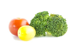 Fresh salad ingredient with broccoli and tomatoes Stock Images