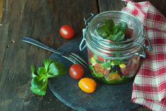 Fresh salad in jar Royalty Free Stock Photo