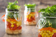 Fresh salad in jar Stock Images