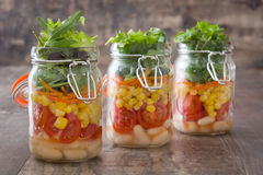 Fresh salad in jar Royalty Free Stock Photos