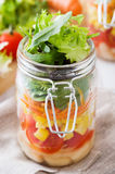 Fresh salad in jar Royalty Free Stock Images