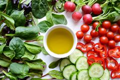 Fresh salad leaves and vegetables Stock Photo