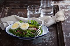 Fresh salad with lettuce, asparagus and eggs Royalty Free Stock Photo