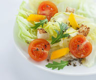 Fresh salad - lettuce, cherry tomatoes, rucola, paprika and croutons. Fresh, spring salad mix with cherry tomatoes, rucola, yellow paprika and croutons on white Royalty Free Stock Image