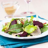 Fresh salad with lettuce leaves, boiled beef, beet, mustard sauc Royalty Free Stock Photo