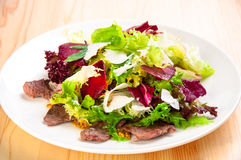 Fresh salad with lettuce leaves, fried beef Royalty Free Stock Photo
