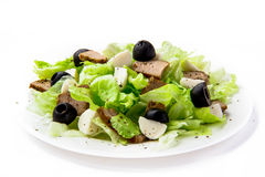 Fresh salad with lettuce, meat and olives. Isolated fresh salad with lettuce, meat and olive Royalty Free Stock Photos