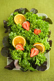 Fresh salad with lettuce, strawberries and oranges on a plate Royalty Free Stock Photos