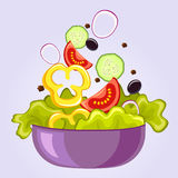 Fresh salad with lettuce, tomato, black olive, cucumber, pepper and onion. Vegan food Stock Image