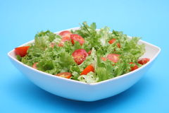 Fresh salad - lettuce and tomatoes. Fresh salad - green lettuce and red tomatoes Stock Image