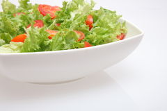 Fresh salad - lettuce and tomatoes. Fresh salad - green lettuce and red tomatoes Stock Photography