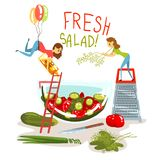 Fresh salad, little women cooking green salad, design element for banner, poster, greeting card vector Illustration royalty free illustration