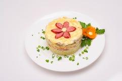Fresh salad with mayonnaise, sausage,  potatoes, pepper Stock Image