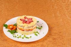 Fresh salad with mayonnaise, sausage,  potatoes, pepper Stock Photo