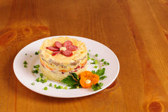 Fresh salad with mayonnaise, sausage,  potatoes, pepper Royalty Free Stock Photos