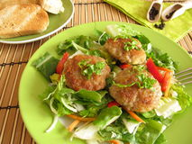 Fresh salad with meatballs Stock Images