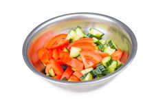 Fresh salad in metal bowl isolated on white Royalty Free Stock Images