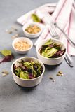 Fresh salad mix of baby spinach, arugula leaves and chard. In two bowl, healthy food stock photo