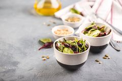 Fresh salad mix of baby spinach, arugula leaves and chard. In two bowl, healthy food stock photos