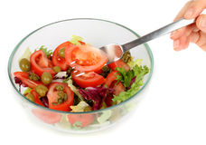 Fresh salad mix and fork Stock Images