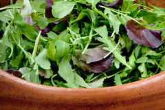 Fresh salad mix in wooden bowl Royalty Free Stock Photography