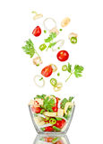 Fresh salad. Mixed falling vegetables Stock Photos