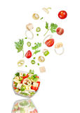 Fresh salad. Mixed falling vegetables Stock Image