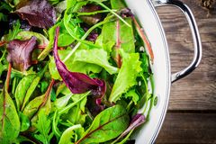 Fresh salad with mixed greens on wooden background royalty free stock photography